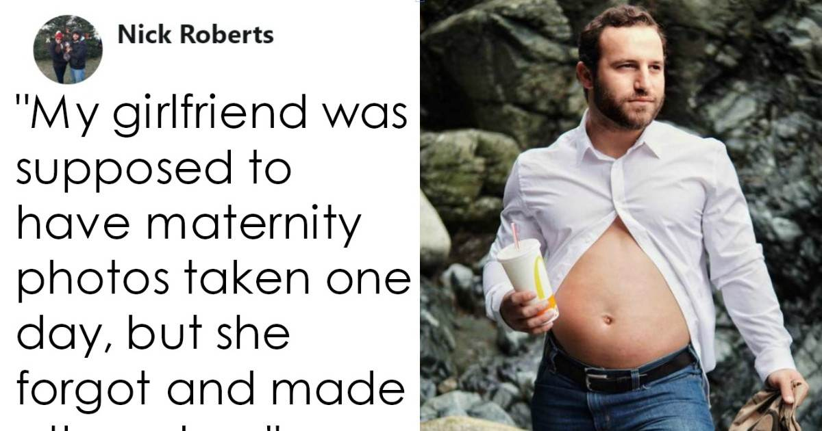 Husband Takes Over His Wife's Pregnancy Shoot And The Results Are Hilarious