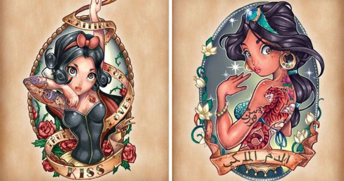Disney Princesses Re-Imagined As Tattooed Pin Up Girls