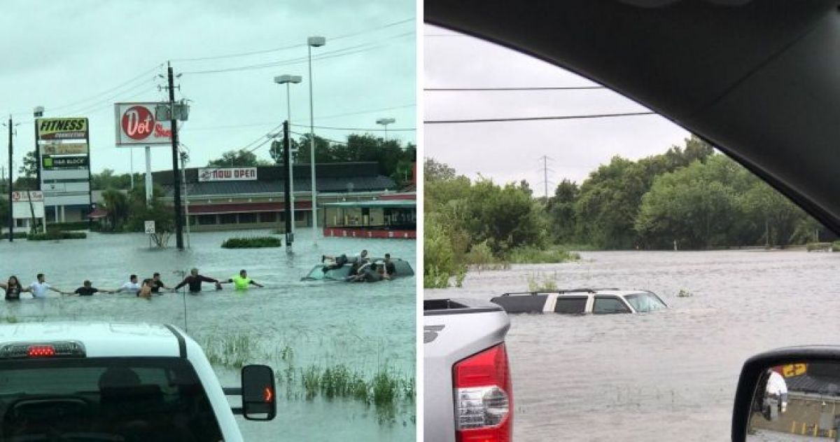 An Elderly Man Was Trapped In His Car During A Hurricane In Texas So These Strangers Formed A Human Chain