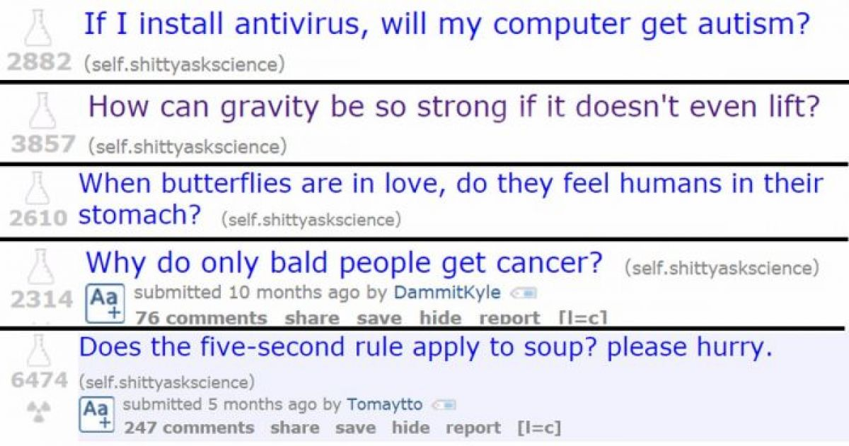 20 Hilarious Science Questions Asked on Reddit